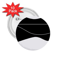 Black and white 2.25  Buttons (10 pack)