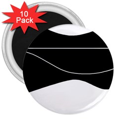 Black and white 3  Magnets (10 pack)