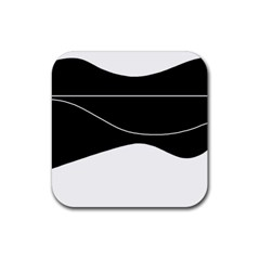 Black and white Rubber Square Coaster (4 pack)