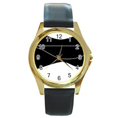Black and white Round Gold Metal Watch