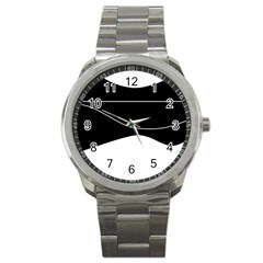 Black and white Sport Metal Watch