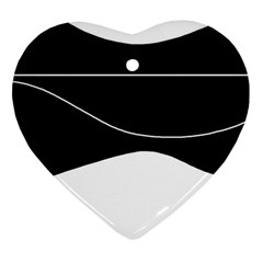 Black and white Heart Ornament (2 Sides)