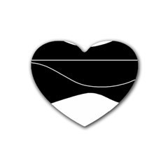 Black and white Rubber Coaster (Heart)