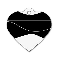 Black and white Dog Tag Heart (One Side)