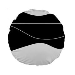 Black and white Standard 15  Premium Round Cushions