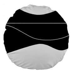 Black and white Large 18  Premium Round Cushions