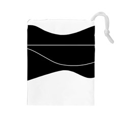Black and white Drawstring Pouches (Large)