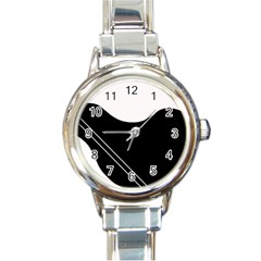 White and black abstraction Round Italian Charm Watch