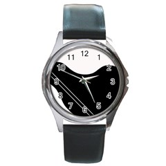 White and black abstraction Round Metal Watch