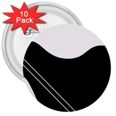 White and black abstraction 3  Buttons (10 pack)