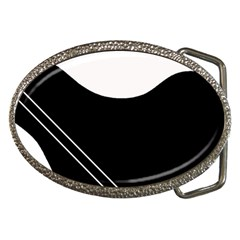 White and black abstraction Belt Buckles