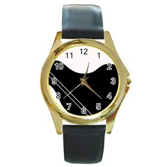 White and black abstraction Round Gold Metal Watch