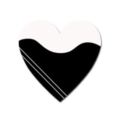 White and black abstraction Heart Magnet