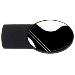 White and black abstraction USB Flash Drive Oval (1 GB)