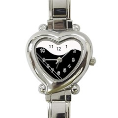 White and black abstraction Heart Italian Charm Watch