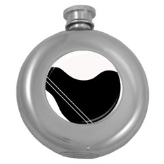 White and black abstraction Round Hip Flask (5 oz)