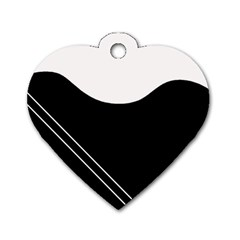 White and black abstraction Dog Tag Heart (Two Sides)