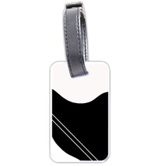 White And Black Abstraction Luggage Tags (one Side)