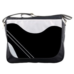 White and black abstraction Messenger Bags