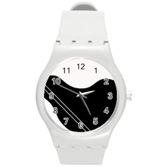 White and black abstraction Round Plastic Sport Watch (M)