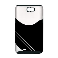 White and black abstraction Samsung Galaxy Note 2 Hardshell Case (PC+Silicone)