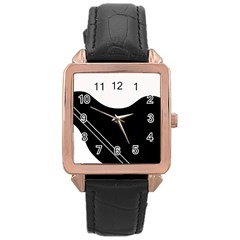 White and black abstraction Rose Gold Leather Watch