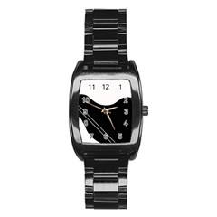 White and black abstraction Stainless Steel Barrel Watch