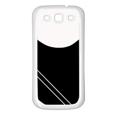 White and black abstraction Samsung Galaxy S3 Back Case (White)