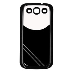 White and black abstraction Samsung Galaxy S3 Back Case (Black)