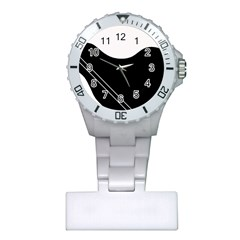 White and black abstraction Plastic Nurses Watch