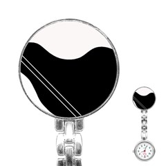 White and black abstraction Stainless Steel Nurses Watch