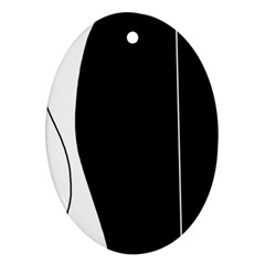 White and black 2 Ornament (Oval)