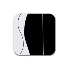 White and black 2 Rubber Coaster (Square)