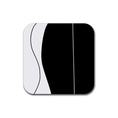 White and black 2 Rubber Square Coaster (4 pack)