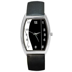 White and black 2 Barrel Style Metal Watch