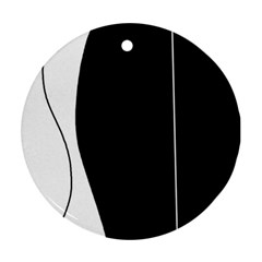 White and black 2 Round Ornament (Two Sides)