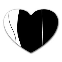 White and black 2 Heart Mousepads