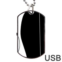 White and black 2 Dog Tag USB Flash (One Side)