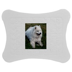 Samoyed Laying In Grass Jigsaw Puzzle Photo Stand (Bow)