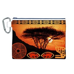 Africa Safari Summer Sun Nature Canvas Cosmetic Bag (L)