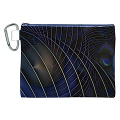 Background Fractal Peacock Pipe Canvas Cosmetic Bag (XXL)