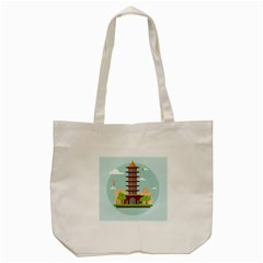 China Landmark Landscape Chinese Tote Bag (Cream)