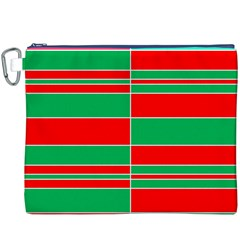 Christmas Colors Red Green White Canvas Cosmetic Bag (XXXL)