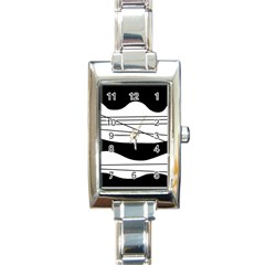 White and black waves Rectangle Italian Charm Watch
