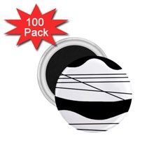 White and black waves 1.75  Magnets (100 pack)