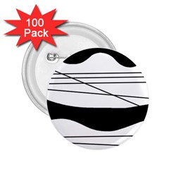 White and black waves 2.25  Buttons (100 pack)