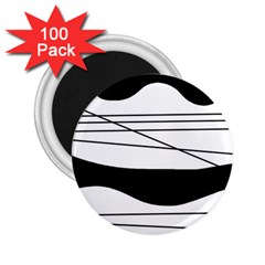 White and black waves 2.25  Magnets (100 pack)