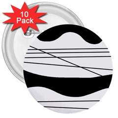 White and black waves 3  Buttons (10 pack)