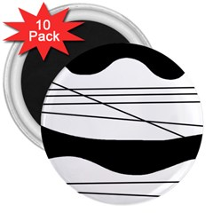 White and black waves 3  Magnets (10 pack)