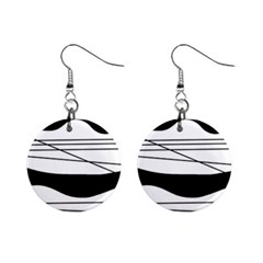 White and black waves Mini Button Earrings
